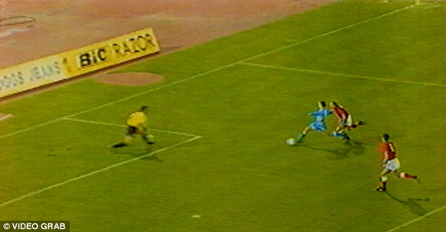 Infamous: Davide Gualtieri pips Stuart Pearce to his under-hit backpass before firing past David Seaman