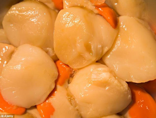 Scallops war: The French fishermen were protesting about British ships fishing legally for the seafood (pictured)