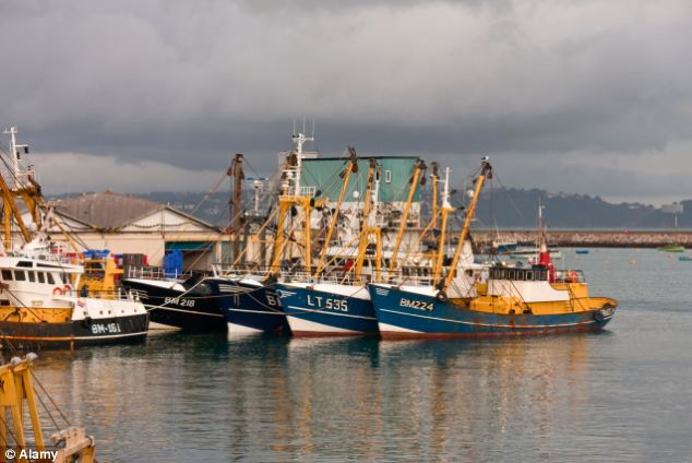 Surrounded: Fishing trawlers from Brixham harbour in Devon were involved in the clashes