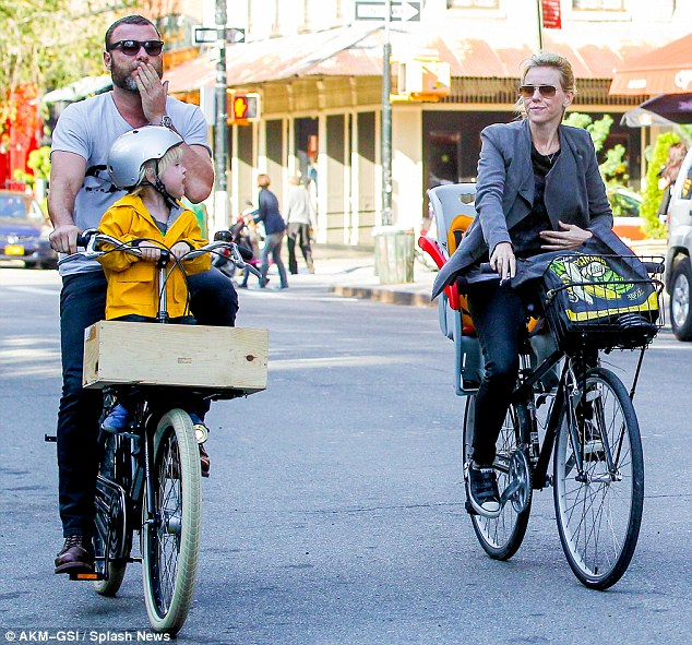 Wheel love: Naomi Watts was spotted with her husband Liev Schreiber and their four-year-old son Samuel, going for a bike ride in Manhattan on Wednesday