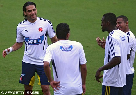 International duty: Falcao has linked-up with his Colombia team-mates