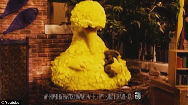 Spitting feathers: Barack Obama's Democrats responded by releasing a video (above) featuring Big Bird which mocks Mr Romney for taking aim at PBS rather than cracking down on financial fraud