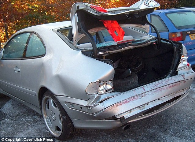 A Mercedes CLK wrecked after one of the collisions