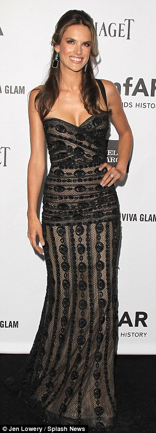 Who wore it best? Alessandra Ambrosio attends the amfAR gala in the same dress Padma Lakshmi wore last month