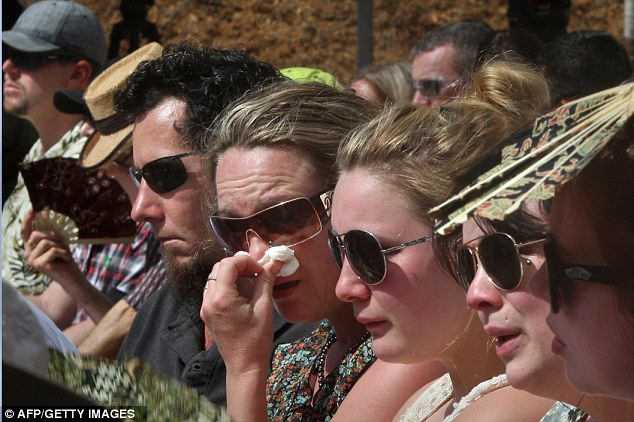 Emotion: Survivors and relatives of the victims of the 2002 Bali bombings attend a ceremony marking the 10th anniversary of the atrocity at at the Garuda Wisnu Kencana cultural park in Jimbaran