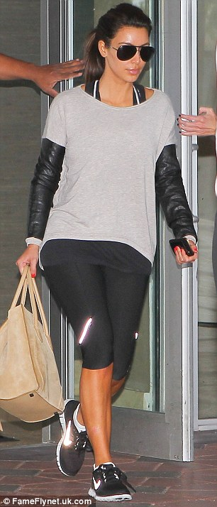 Fashion comes first: The reality star was wearing a top with leather sleeves, which must have made for a sweaty workout