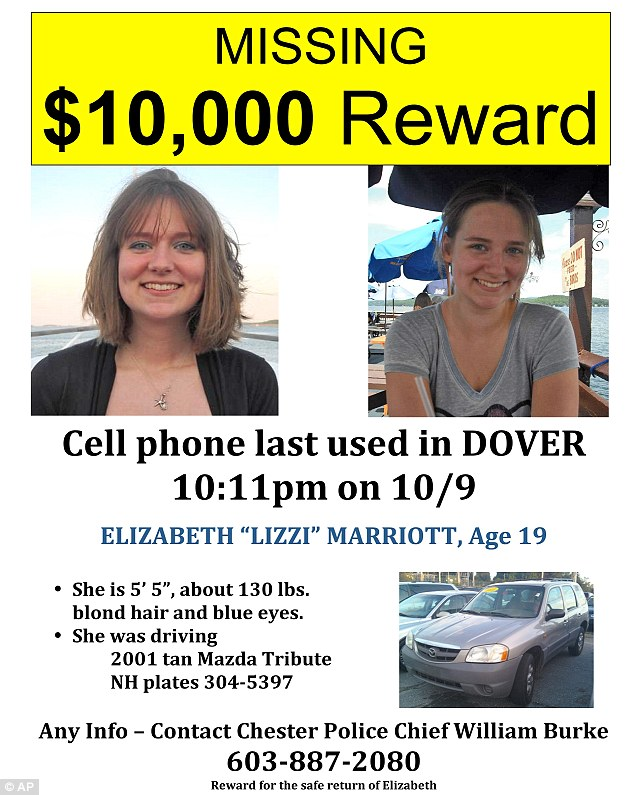 Plea: A missing poster describes Lizzi and her car, before Seth Lazzaglia was charged with her murder today