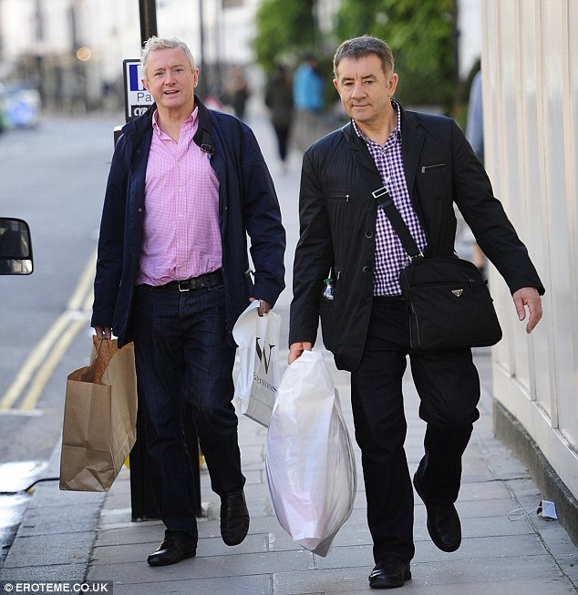 Under fire judge Louis Walsh appeared relaxed while on a shopping trip witha  friend on Friday afternoon