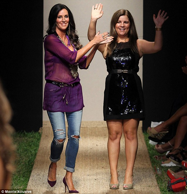 Thanks for the help! Patti applauds the female assistant for saving her from potential embarrassment on the catwalk