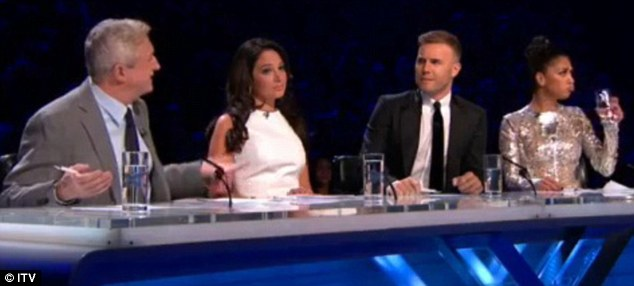 Oh dear: Gary and Louis argued over their acts, while Tulisa and Nicole tried to stay neutral