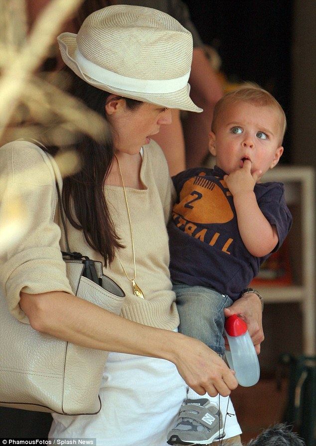 Spooky times: Selma Blair went with her son Arthur to the Mr. Bones Pumpkin Patch on Saturday