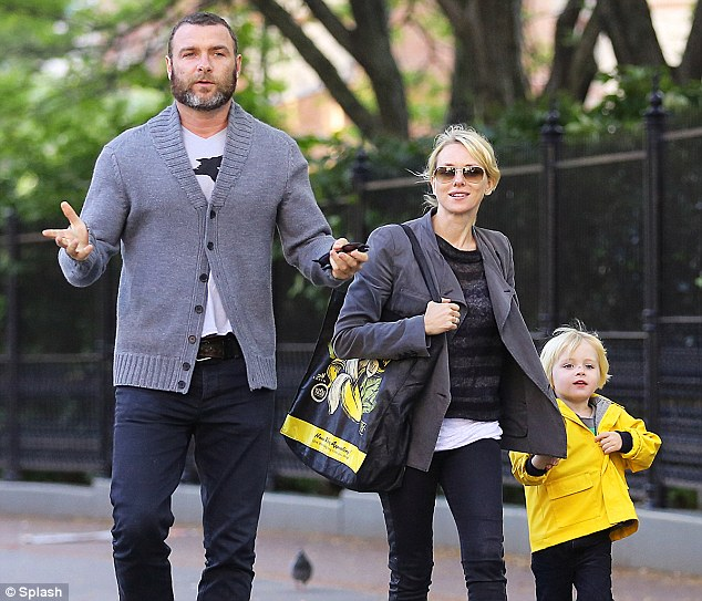 Taking it easy: Naomi Watts, her partner Liev Schreiber and their four-year-old son Samuel, were pictured in Manhattan on Wednesday enjoying a stroll in the park