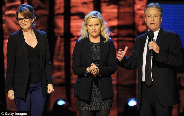 Seriously funny: Fey and Poehler are joined by The Daily Show host Jon Stewart
