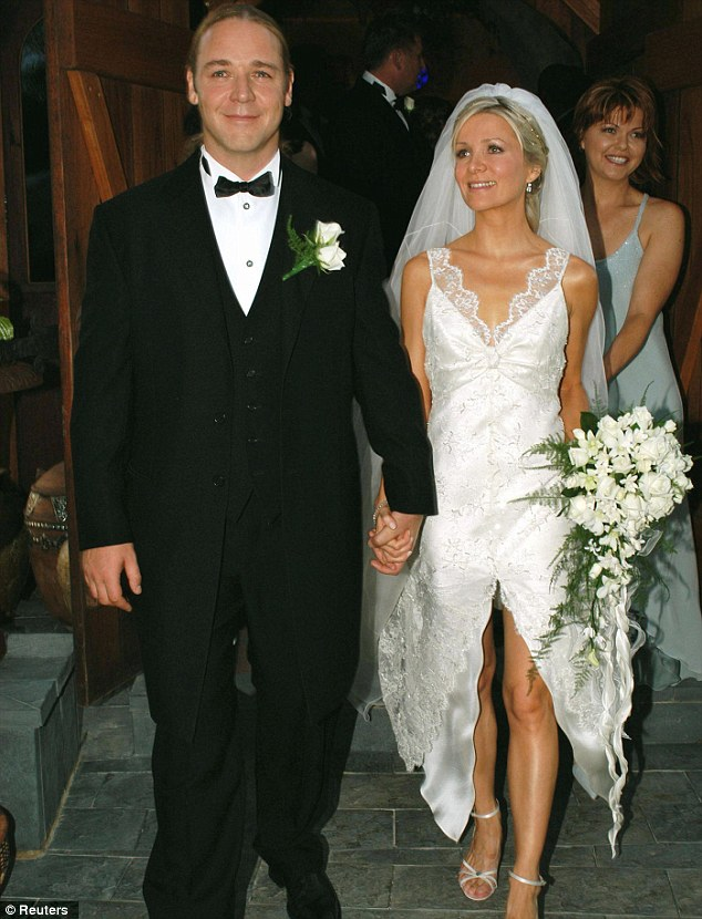 The Oscar-winning actor and bride Danielle after their wedding ceremony at his cattle farm at Nana Glen in 2003