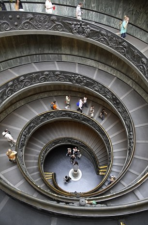 A staircase inside the Vatican Museum
