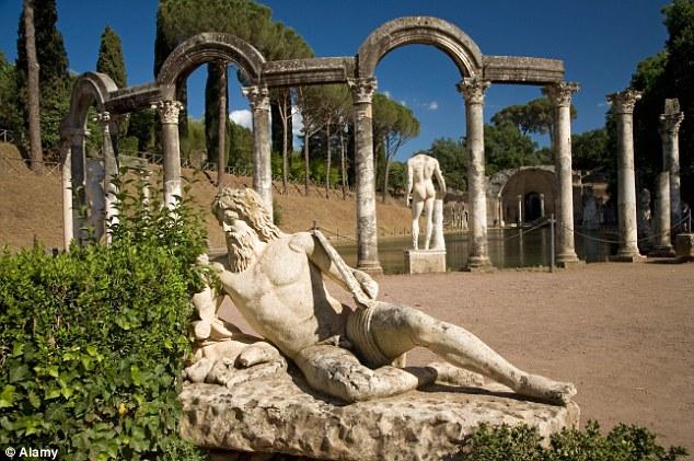 A statue at Hadrian's Villa, Tivoli, in Italy