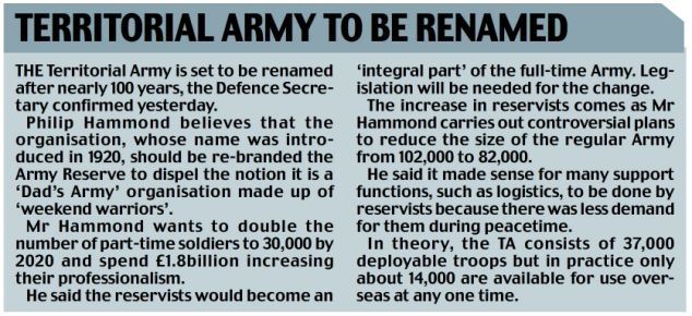 Territorial Army to be renamed