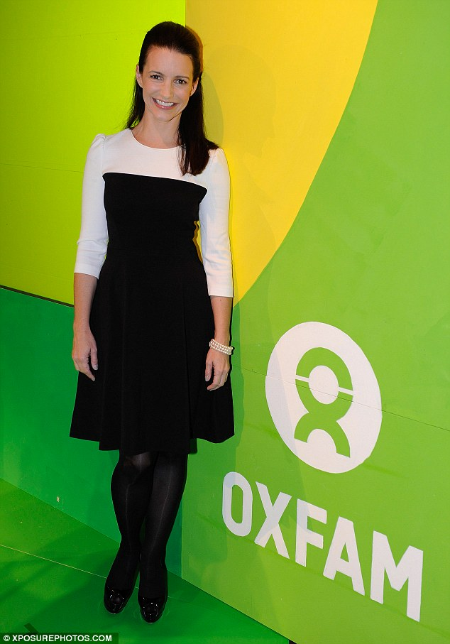 Lady at Oxford: Kristin Davis looked regal at the Oxfam Eight Stories High event, wearing a black-and-white dress and simple pearl bracelet