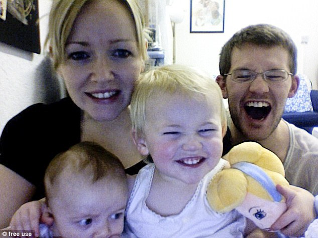 Before the tragedy: Lindsay Burgess (left), 33, is pictured with her husband Pete (right), 31, and their children Meg (centre) and Wilson (bottom left)