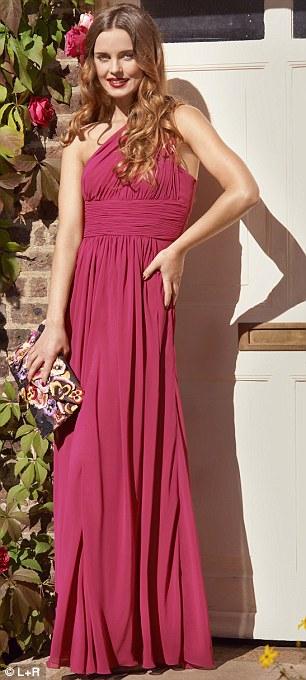 One-shoulder maxi dress, £215, rubyray.com. Floral clutch, £32, accesorize.com