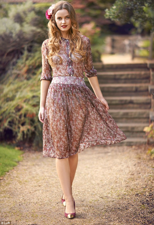 Floral dress £99.99, hobbs.co.uk, Maroon court shoes with metallic toe, £245, russelandbromley.co.uk