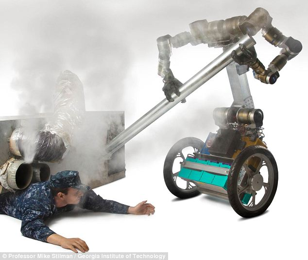 Military funding: The U.S. U.S. Office of Naval Research has given the research team behind the MacGyver-bot a $900,000 grant to fund their studies. The military hope the robots could help their personnel