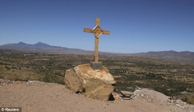 A cross is seen at the U.S.-Mexico border near the site where Jose Antonio Elena Rodriguez was found dead last week