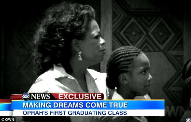 Caring cause: Ms Winfrey said she wanted to make a point of donating her time and energy, not just money, to the school