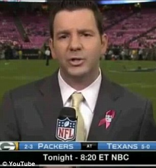 Owch! Ian Rapoport was reporting from the sidelines at Houston's Reliant Stadium when a ball came flying at his face