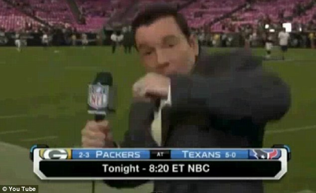 Duck! According to football fans on the internet, Mr Rapoport may have been targeted by a prankster Green Bay Packers fan who was didn't like what the reporter was saying about the team's lack of defense