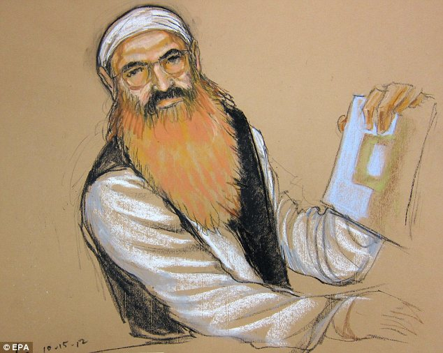 On trial: Khalid Sheikh Mohammed boycotted the pretrial hearings and the judge ruled that the defendants can wear camouflage gear if they want to during the formal trial