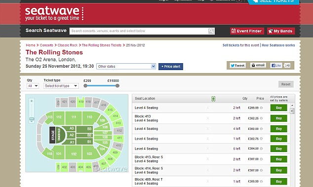 Seatwave: Tickets are being listed on the reselling website to the two London Rolling Stones gigs arlready