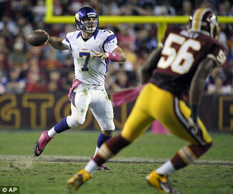 Franchise quarterback: Christian Ponder plays in Sunday's 38-26  defeat to the Washington Redskins