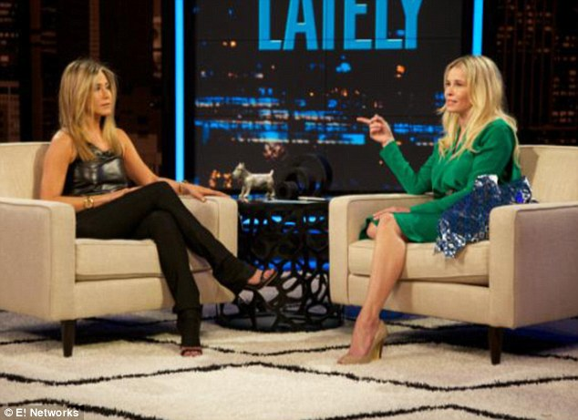 Girl talk: Jennifer Aniston sat down with pal Chelsea Handler for the comedienne's Monday night show Chelsea Lately