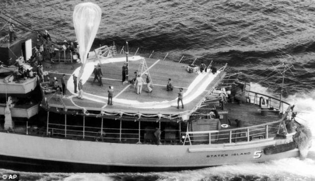 Real-life spies: An inflatable Skyhook balloon aboard the icebreaker USS Staten Island