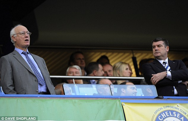 Lingering with intent: Bruce Buck (left) and Ron Gourlay (right) were present at the majority of Roberto di Matteo's press conferences during Chelsea stunning run to the Champions League final 2012