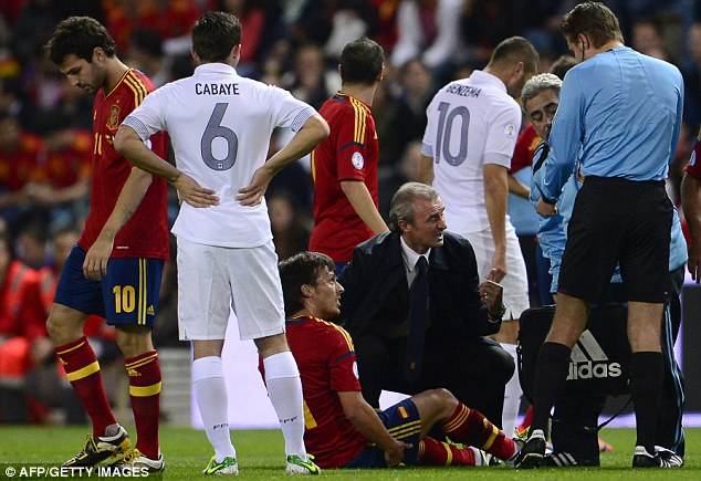 Game over: Silva wasn't able to carry on after just 10 minutes of the World Cup qualifier