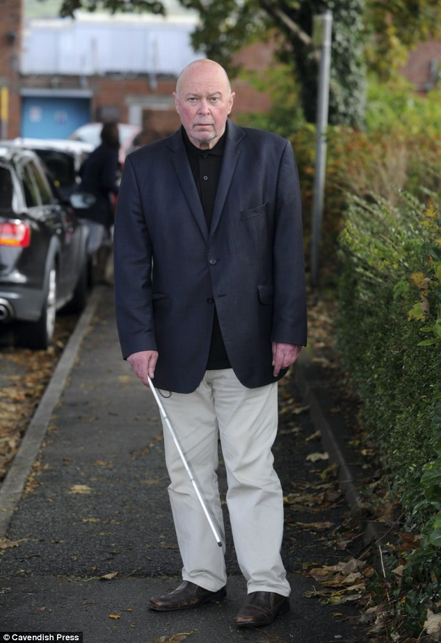 'Terrified': Blind pensioner Colin Farmer, 61, was set upon in Chorley, Lancashire after a police officer mistook his cane for a samurai sword