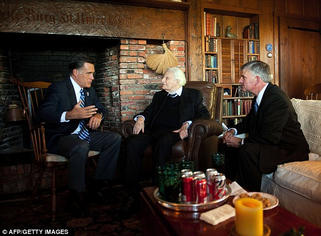 Exception: Mr Romney, seen with Rev Billy Graham and his son Franklin, right, is a devote Mormon which until now has been defined as a cult by Mr Graham