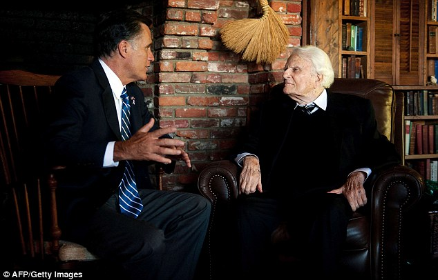 Erasing: Reverend Billy Graham's website has removed language calling Mormonism a cult one week after sitting down with Republican presidential candidate Mitt Romney, pictured