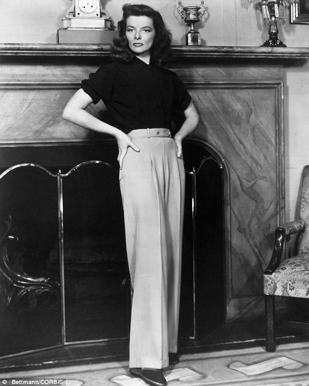 Pushing the boundaries: The late Katharine Hepburn, pictured in the stage version of The Philadelphia Story in the Thirties, was an early pioneer of androgynous fashion