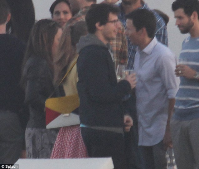 Celebration: Justin Timberlake's Saturday Night Live friend Andy Samberg was one of the famous faces enjoying a welcome drink on Wednesday before the firework display