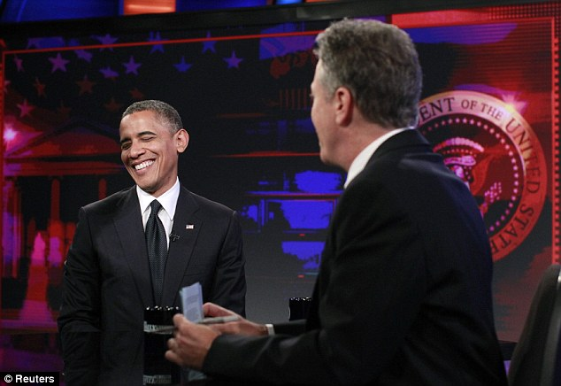 Not optimal: President Barack Obama, pictured left, discussed the killing of four men in Benghazi while speaking to Jon Stewart, right, on The Daily Show