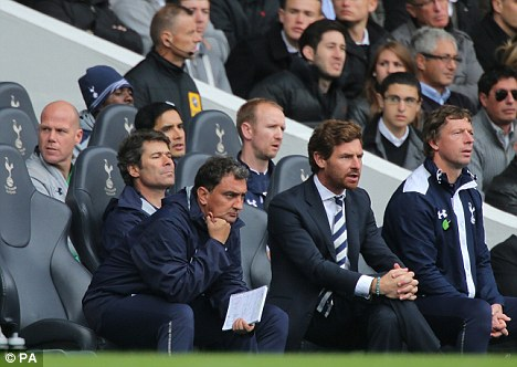 Another big test: Andre Villas-Boas watches Tottenham's match against Aston Villa earlier this month