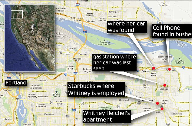 Search: A map of Gresham, Oregon shows the short distance between Heichel's home and her work, and the spot where he cell phone was found