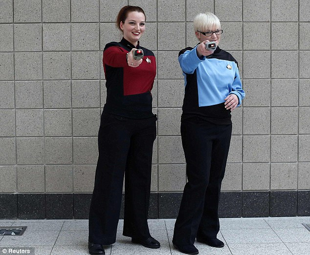 Beam me up: Zoe Hennessy and Billie Houckham of Newcastle at the first Star Trek convention to be held in the UK in a decade
