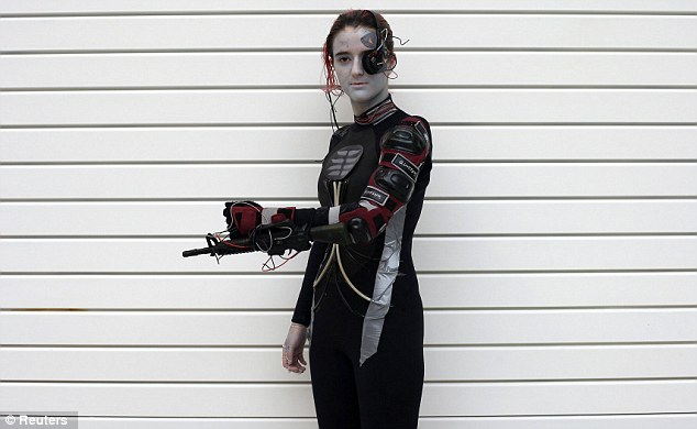 Celebration: Mirinda Archer of Manchester makes an impressive effort as she dresses up for the sci-fi event