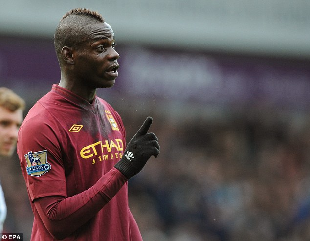 Temper: Mario Balotelli was booked early on