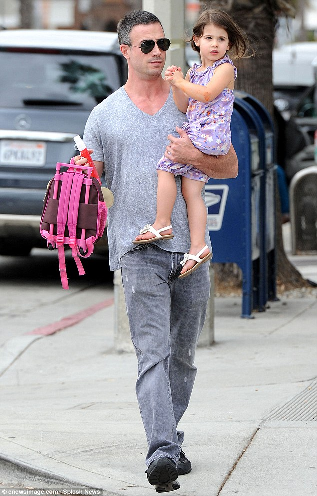 Daddy's turn: Freddie Prinze Jr. picked up Charlotte from her pre-school on Thursday. Sarah and her husband share co-parenting responsibilities