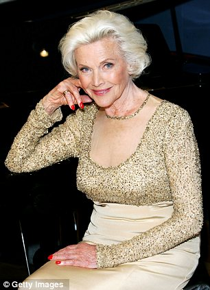 Campaigning: Actress Honor Blackman, who played Pussy Galore in the 1964 James Bond film Goldfinger